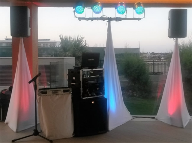 DJ stand set up Aegean Blue Kolymbia