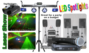 Lasers, LED Spotlight, Microphones, Speakers, Amps, Stands, Smoke Machine P.A System