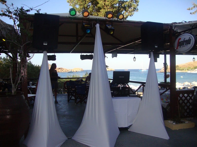 DJ stand at the Nefeli Restaurant Lindos
