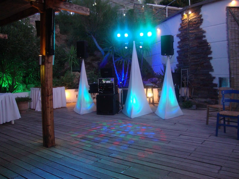 Lit up and ready Dj stand at The Lindian Jewel