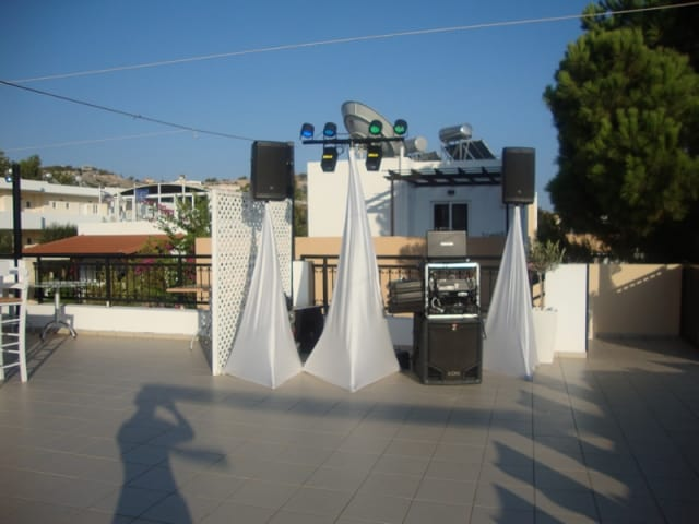 Dj stand ready and waiting at The Martina Pefkos