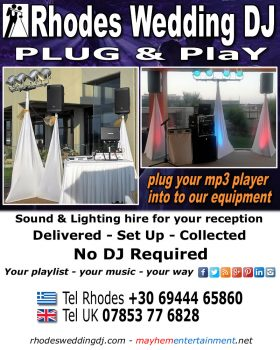 Rhodes Wedding DJ equipment hire