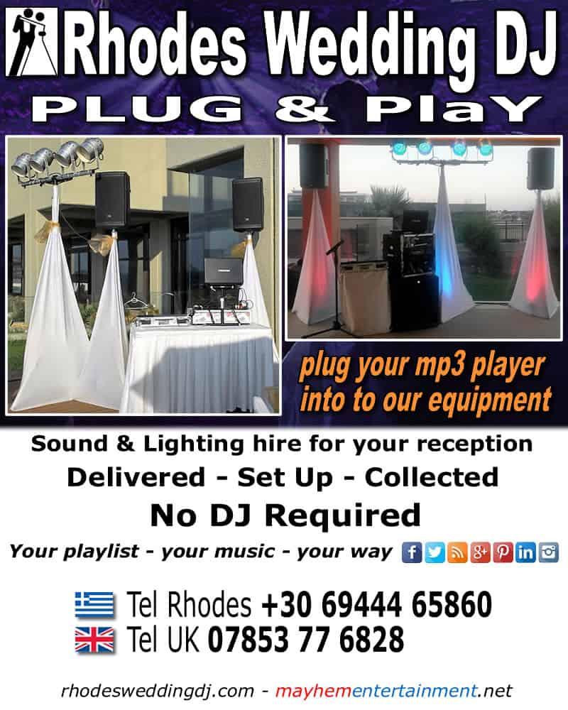 Rhodes Wedding DJ equipment hire