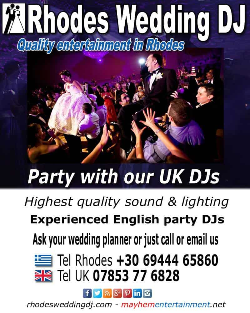Rhodes Wedding Dj discos & entertainment for weddings
