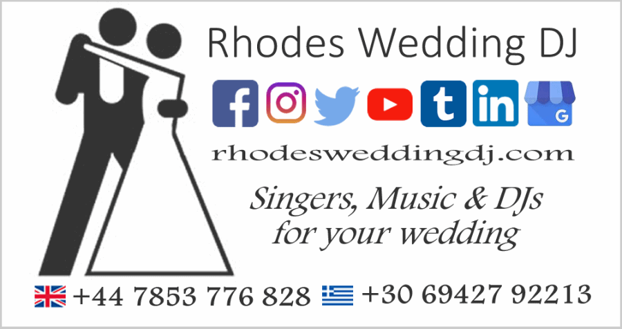 Rhodes Wedding DJ Business Card