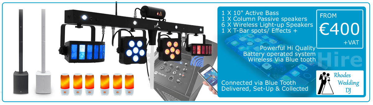 Rental Equipment Package 5 wireless Bluetooth system with a mixer & JBL Pulse speakers from €400