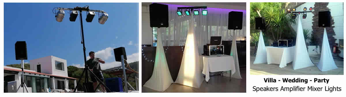 package 1 systems with covered stands, spotlights and quality systems weddings, villas, parties