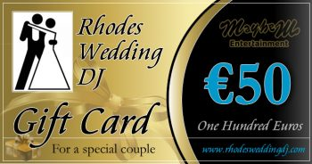 Rhodes Wedding Dj Gift Card for 50 euros